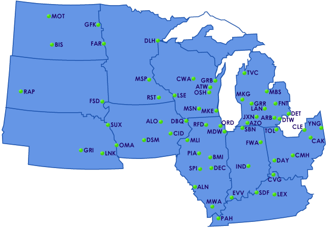 Flight Delay Information - North Central States